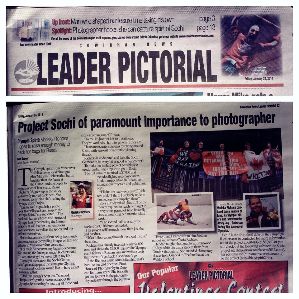 Cowichan News Leader - Olympic Spirit Project article