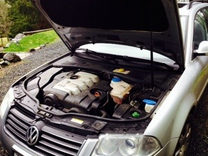 VW Passat with hood open