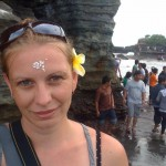 Just after being blessed at a holy spring in Bali