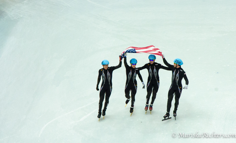 USA wins Silver in the 5000m relay at Sochi 2014
