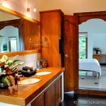 Guest house, bathroom, including two sinks and private outdoor shower.