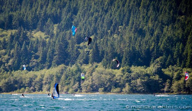 Kiteboarding at Nitinat Lake