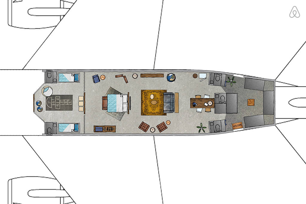KLM Airplane Apartment - Floor Plan