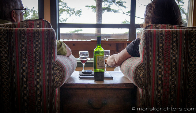 Drinking Wine at Middle Beach Lodge