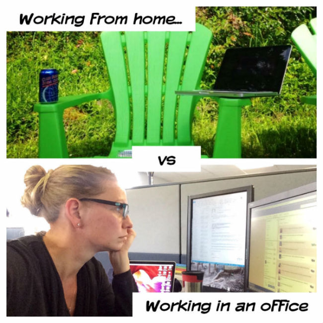 Working from home vs working in an office