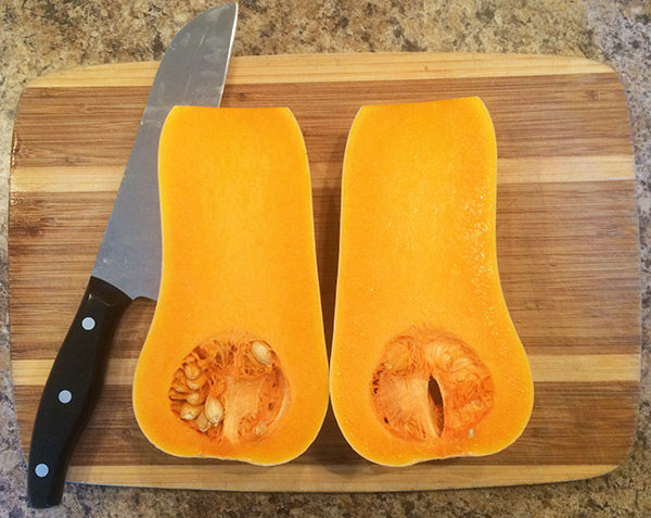 Apple Butternut Squash Soup Recipe - Squash cut in half