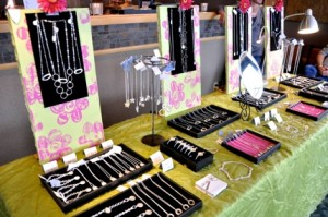 Jewelry display table at Jewels for a Cause