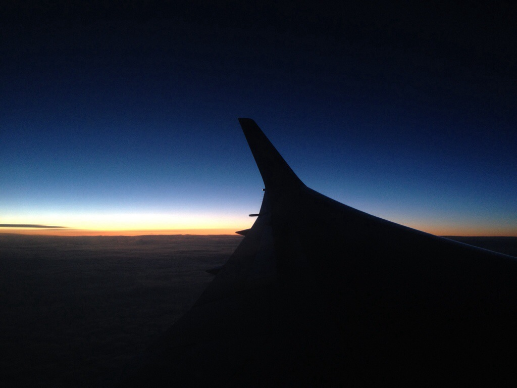 The sunset between Seattle and Paris