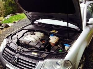 VW Passat with hood open