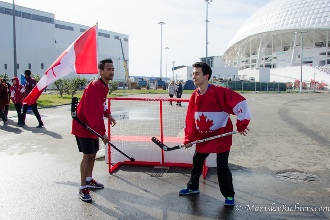 Patrick Chan playing street hockey