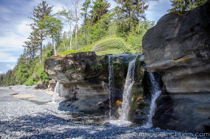 The waterfall at Sandcut Beach
