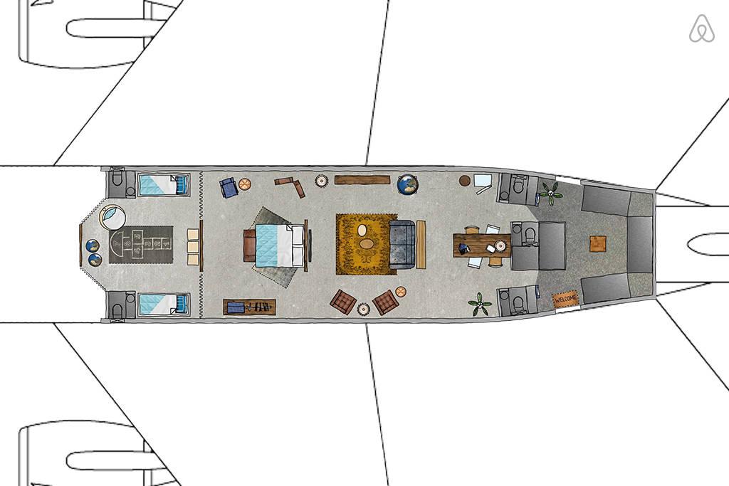 KLM Airplane Apartment - Floor Plan